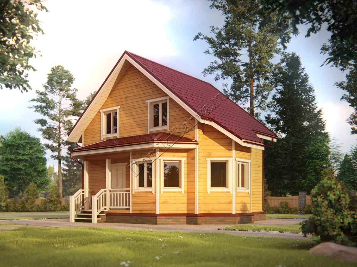 Дом из бруса 7х8 -1.5 этажа, проект №39  Дом из Бруса 7х8